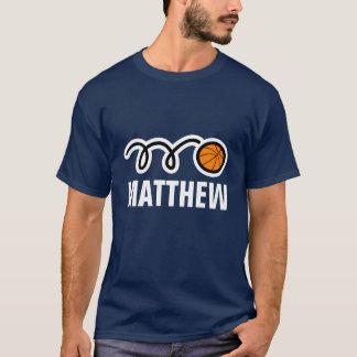 Cool basketball shirt with name and bouncing ball