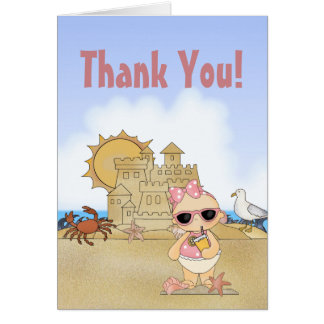 Cool Beach Baby Girl with Sandcastle Thank You Card
