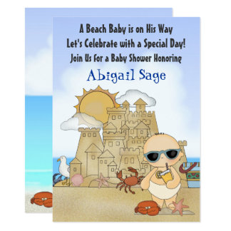 Cool Beach Baby Sandcastle Boys Baby Shower Invite
