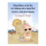 Cool Beach Baby Shower Invitation for Girls