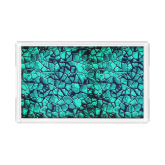 Cool beach blue pebbles marble stones texture tray
