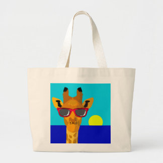 Cool Beach Giraffe Large Tote Bag