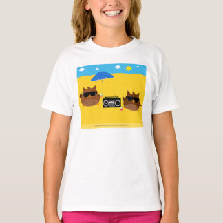 Cool Beach Owls Design - Girls T-Shirts