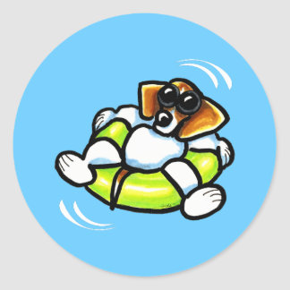 Cool Beagle Pool Float Off-Leash Art™ Round Sticker