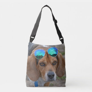 Cool Beagle With Sunglasses On Head Crossbody Bag