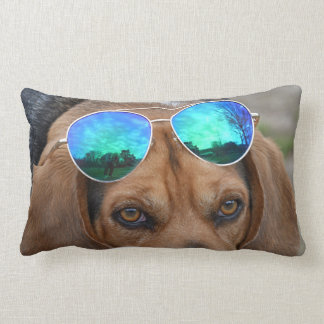 Cool Beagle With Sunglasses On Head Lumbar Pillow