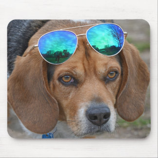 Cool Beagle With Sunglasses On Head Mouse Pad