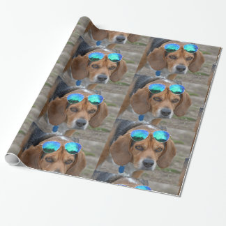 Cool Beagle With Sunglasses On Head Wrapping Paper