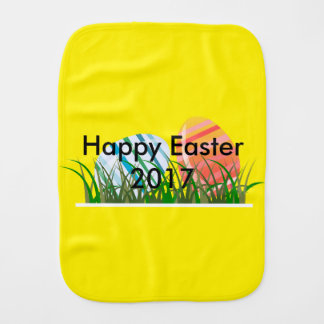 Cool Beautiful colorful eggs happy first easter Burp Cloth