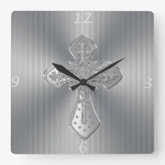 Cool beautiful ornament cross silver grey effect square wall clock