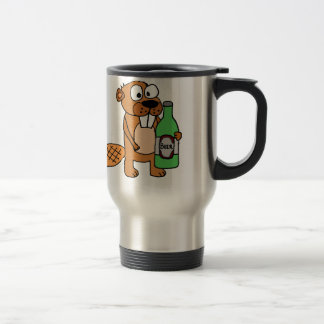 Cool Beaver Drinking Beer Cartoon Travel Mug