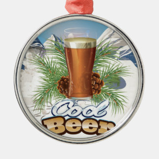 Cool Beer vintage Bar Poster Silver-Colored Round Ornament