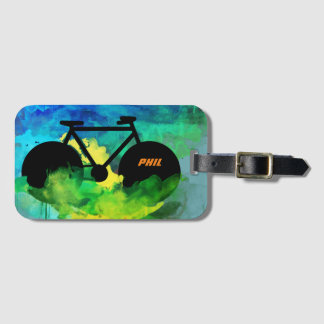 cool bicycle graphic-art luggage tag