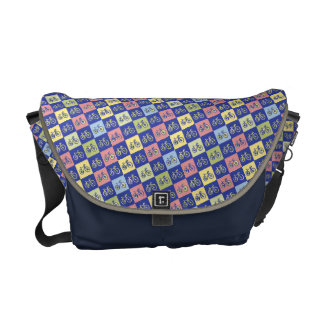cool bikes checkered pattern courier bag