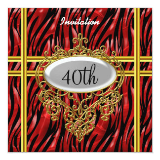 """Cool Birthday Party Black and Red zebra 5.25"""" Square Invitation Card"""