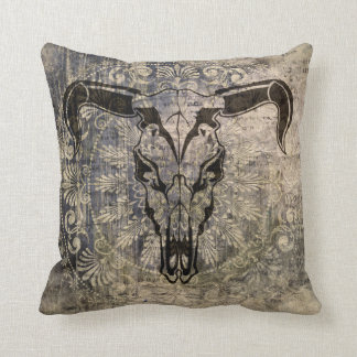 Cool Bison Portrait Crazy Vintage Style Pillow