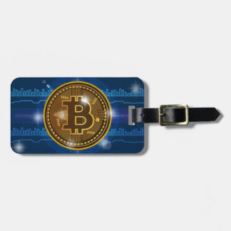 Cool Bitcoin logo and graph Design Luggage Tag