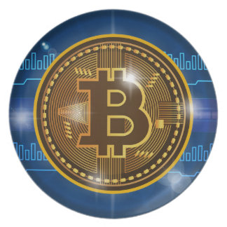 Cool Bitcoin logo and graph Design Plate