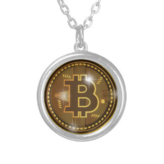 Cool Bitcoin logo and graph Design Silver Plated Necklace