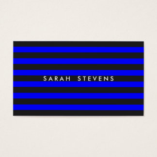 Cool Black and Cobalt Blue Striped Modern Salon Business Card