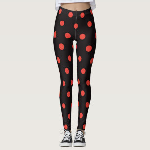 6d32e5eb4d Women's Black Red Polka Dot Leggings & Tights | Zazzle CA