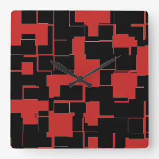COOL Black and Red Stylish Abstract Pattern Square Wall Clock