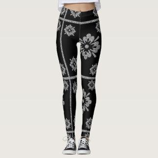 Cool Black and Silver flower design leggings