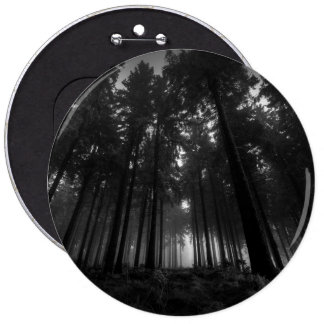 Cool Black and White Forest Fog Silence Gifts 6 Inch Round Button