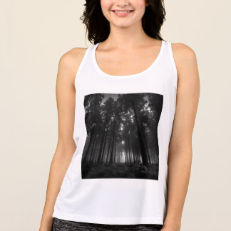 Cool Black and White Forest Fog Silence Gifts Tank Top