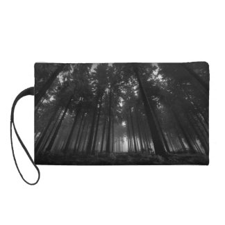 Cool Black and White Forest Fog Silence Gifts Wristlet Clutches