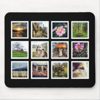 Cool Black and White Instagram Photo Collage Mouse Pad