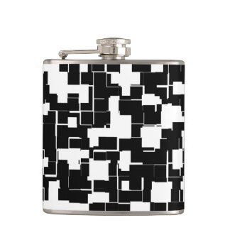 Cool Black and White Modern Trendy Pattern Hip Flask
