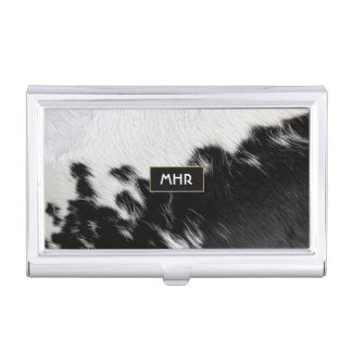 Cool Black and White Monogram Cowhide Business Card Holder