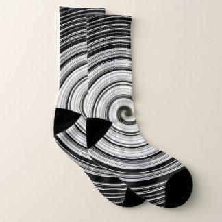 Cool black and white spiral pattern socks