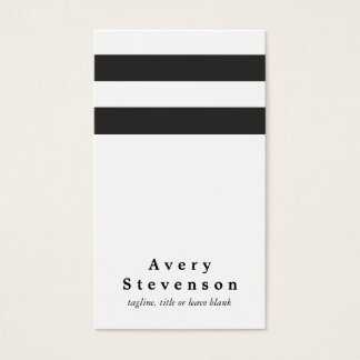 Cool Black and White Striped Modern Vertical White Business Card