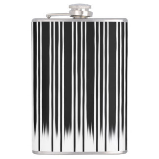 Cool Black and White Striped Pattern Flask