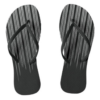 Cool Black and White Striped Pattern Flip Flops
