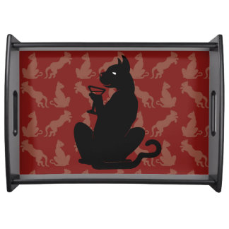 COOL BLACK CAT COCKTAIL by Slipperywindow Serving Tray