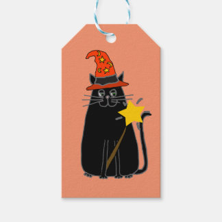 Cool Black Cat in Wizard Hat Halloween Art Gift Tags