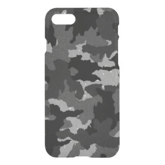 Cool Black & Gray Camo Camouflage Pattern Clearly iPhone 7 Case
