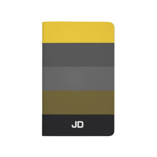 Cool Black Grey Yellow Stripes Journal
