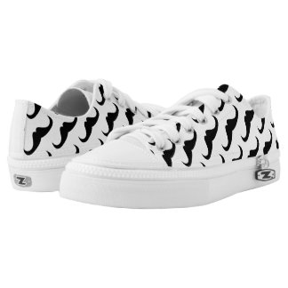 Cool Black Handlebar moustache on White pattern Low-Top Sneakers