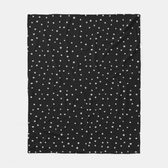 Cool Black Night Stars Print Fleece Blanket
