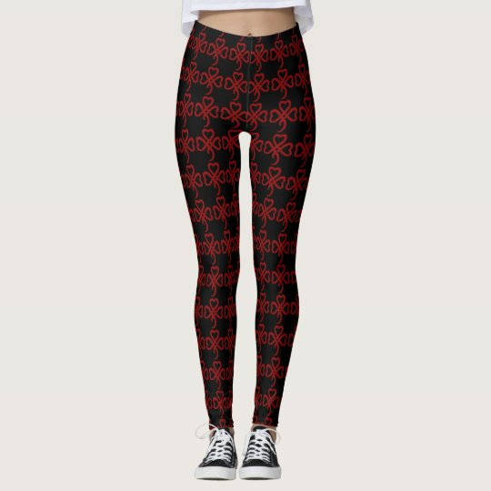 Cool Black & Red Triple Tribal Hearts Pattern Leggings