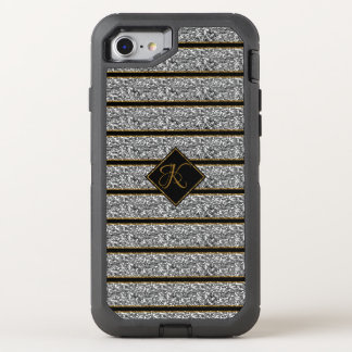 Cool Black Silver Glitter Stripes  Monogrammed OtterBox Defender iPhone 8/7 Case