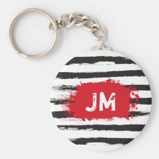 Cool BLACK STRIPES Brushstroke + Custom Monogram Keychain