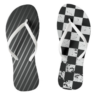 Cool Black & White Abstract Flip Flops