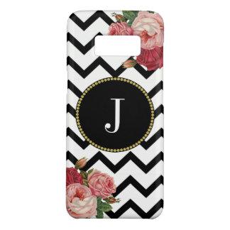 Cool Black White Chevrons Vintage Roses Monogram Case-Mate Samsung Galaxy S8 Case