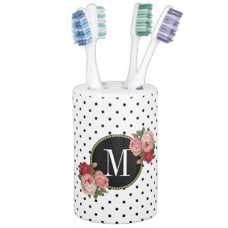 Cool Black White Dots Antique Rose Floral Monogram Soap Dispenser And Toothbrush Holder