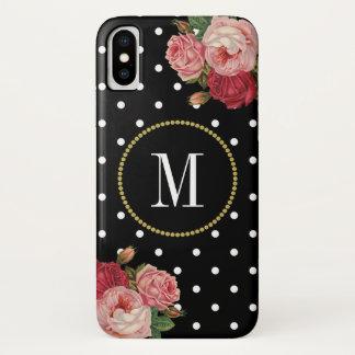 Cool Black White Dots Vintage Floral Gold Monogram iPhone X Case